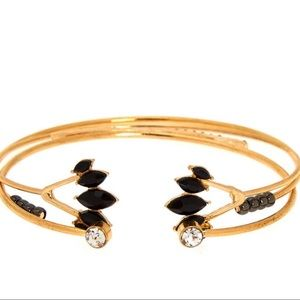 Jewelry - 3 Goldtone & Black Art Deco Bracelet Cuffs Set